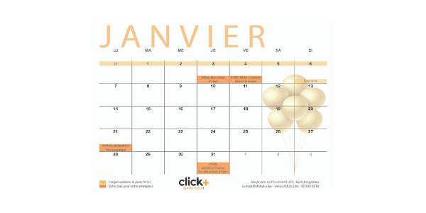 Calendrier 2019 : téléchargez le calendrier Click+